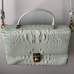 Light blue Brahmin purse with adjustable strap